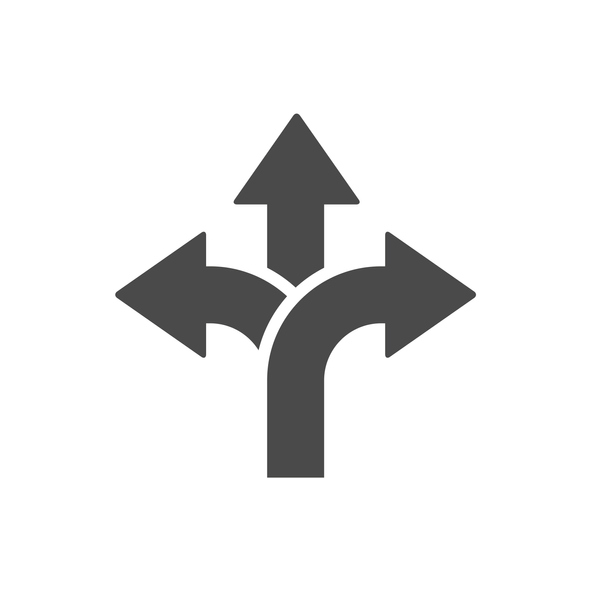 three way direction arrow